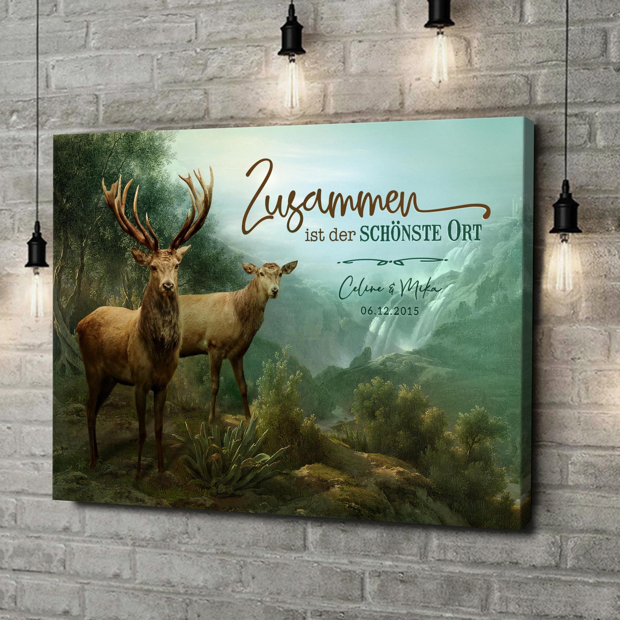 Leinwandbild personalisiert Verliebte Hirsche