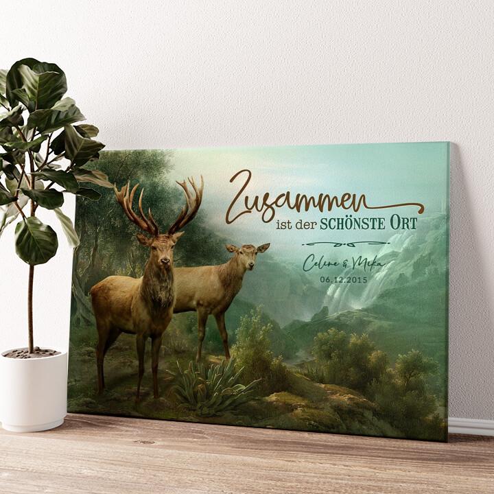 Verliebte Hirsche Wandbild personalisiert