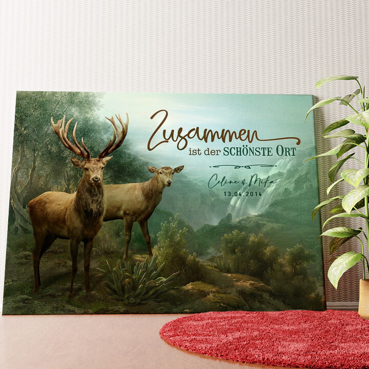 Personalisiertes Wandbild Verliebte Hirsche