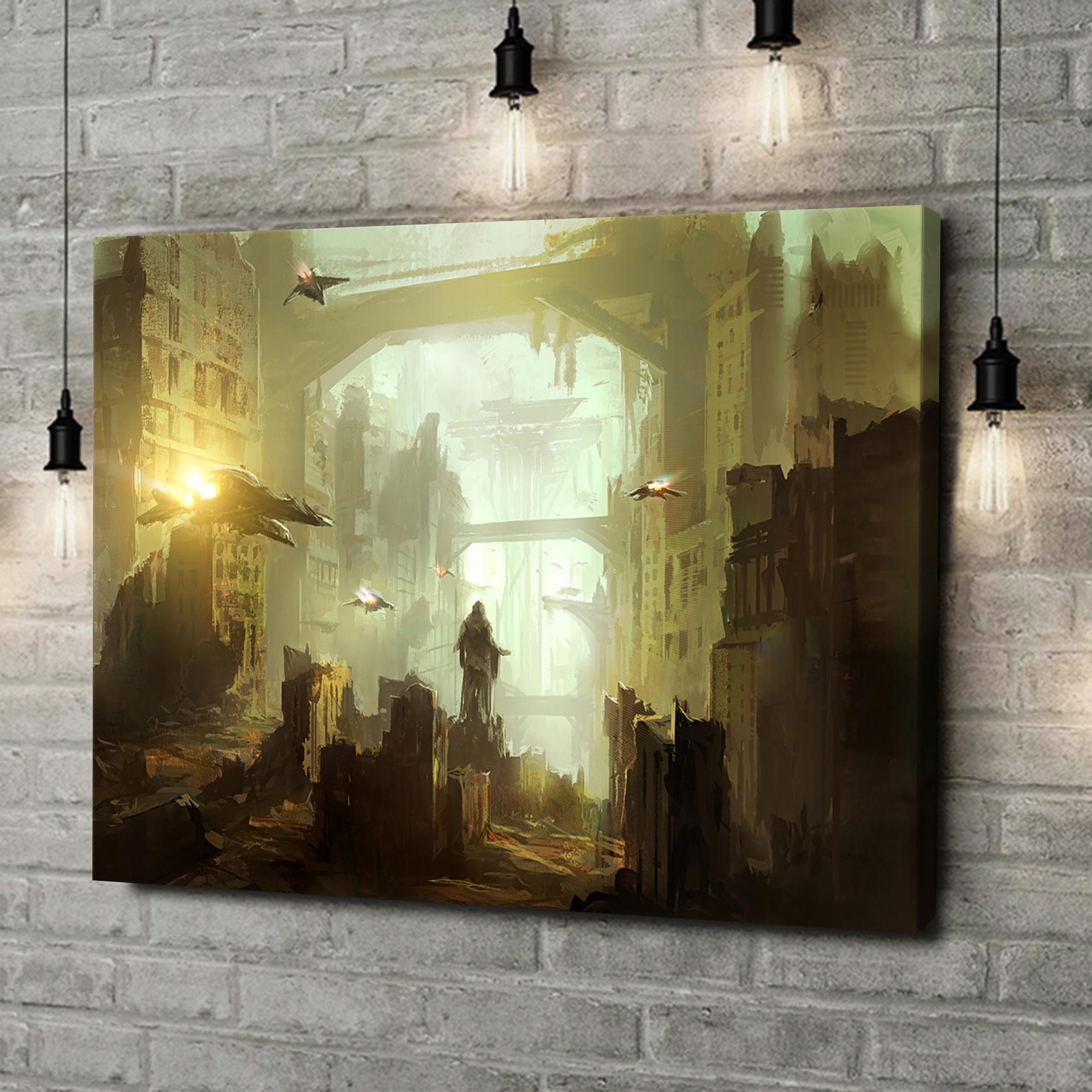 Leinwandbild personalisiert Fantasy Stadt