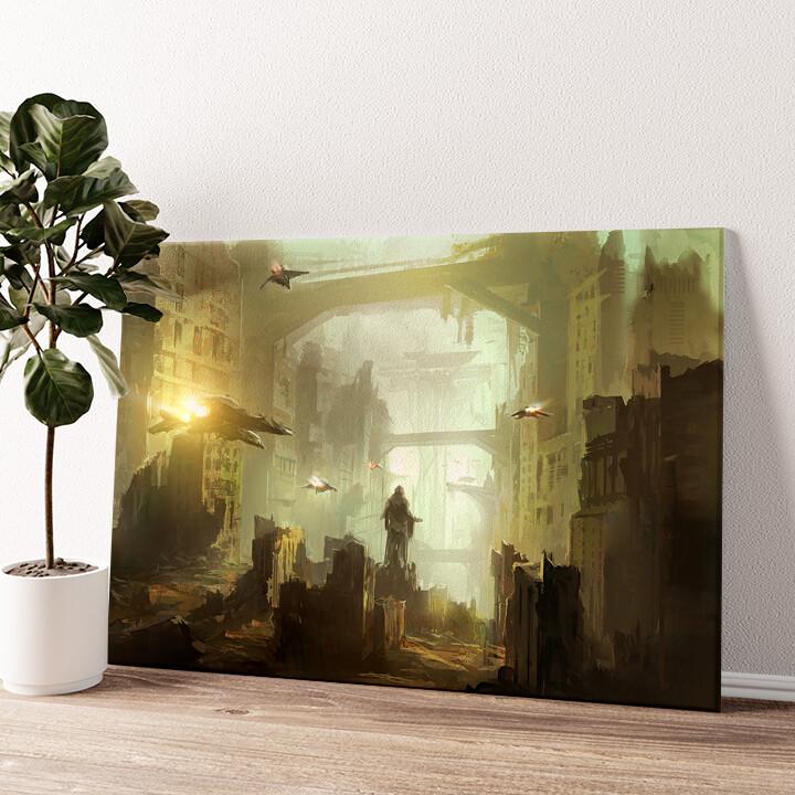 Fantasy Stadt Wandbild personalisiert