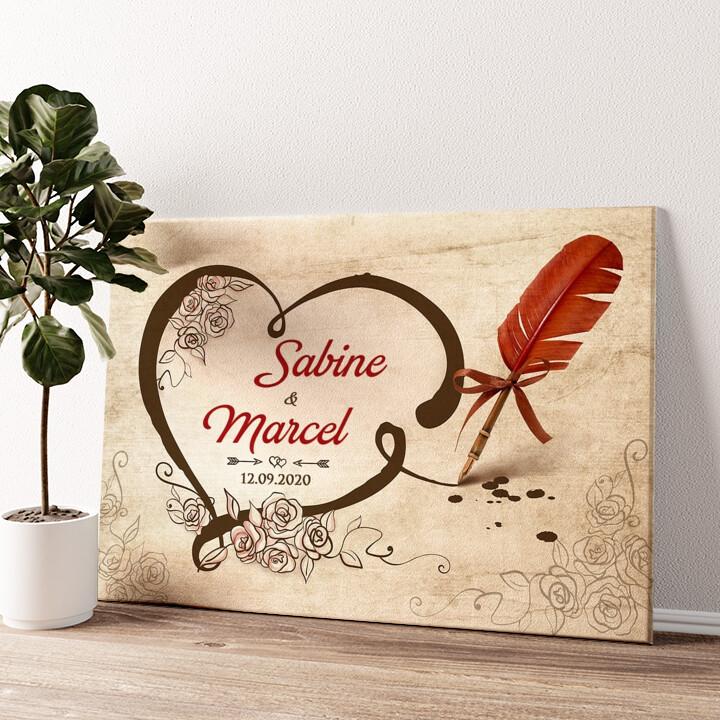 Besiegelte Liebe Wandbild personalisiert