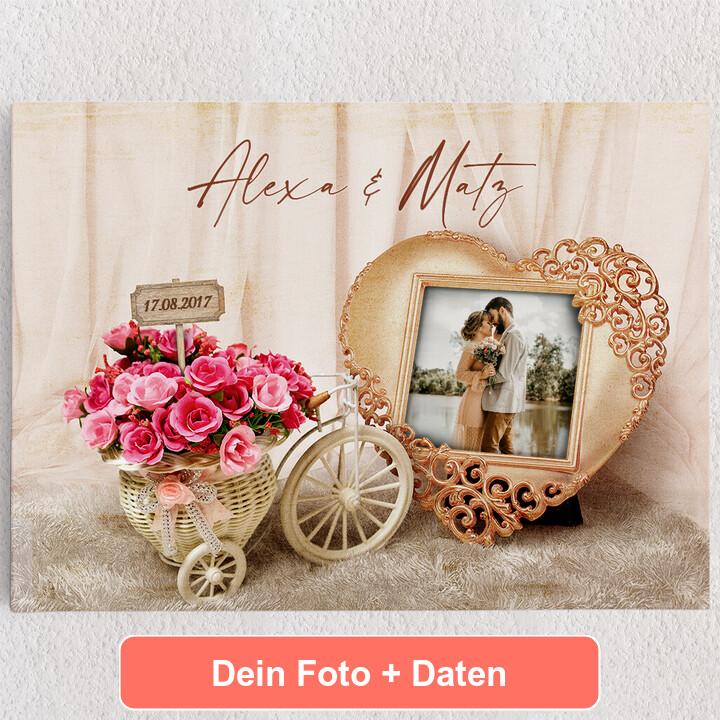Personalisiertes Leinwandbild Hochzeitsgefühle