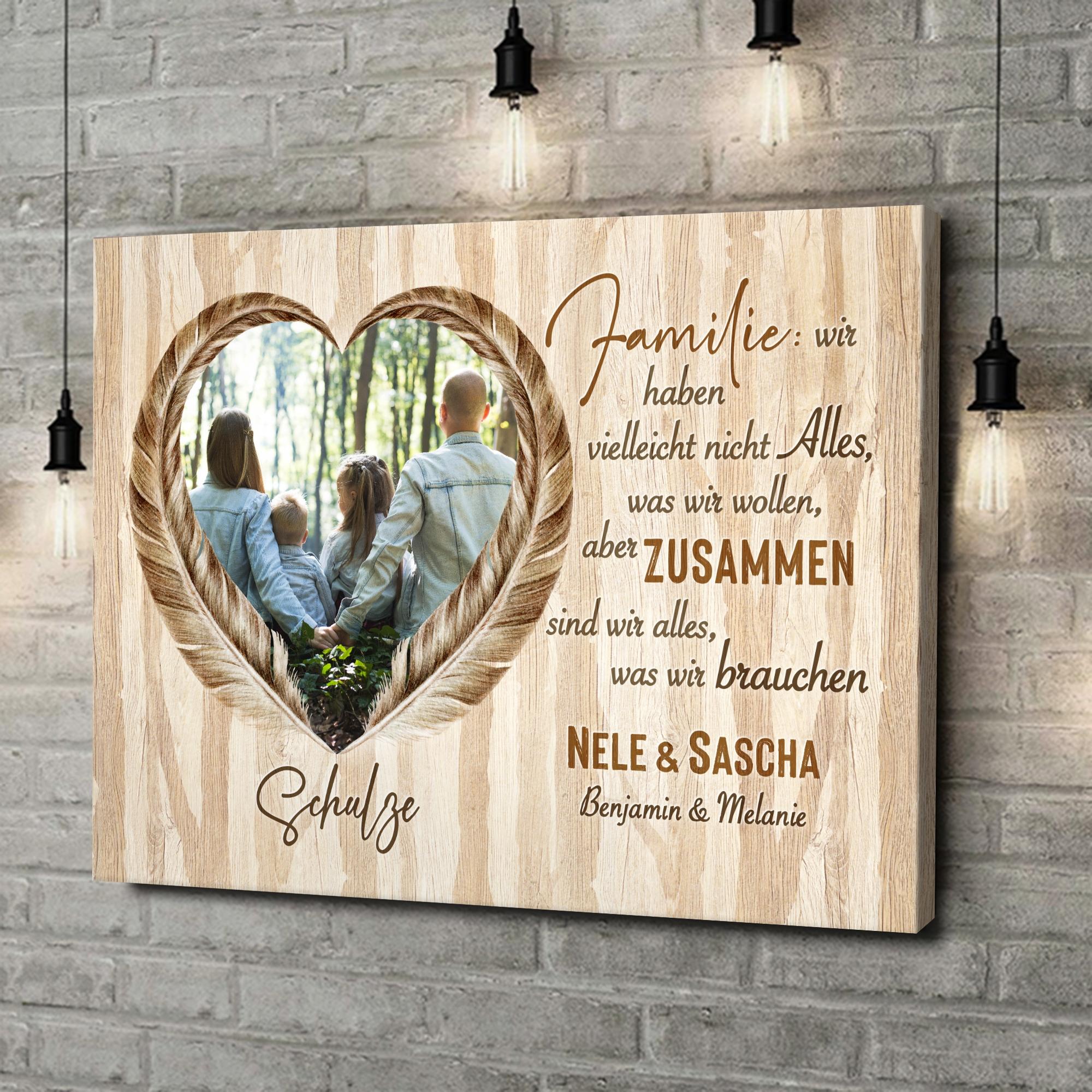 Leinwandbild personalisiert Federn der Liebe