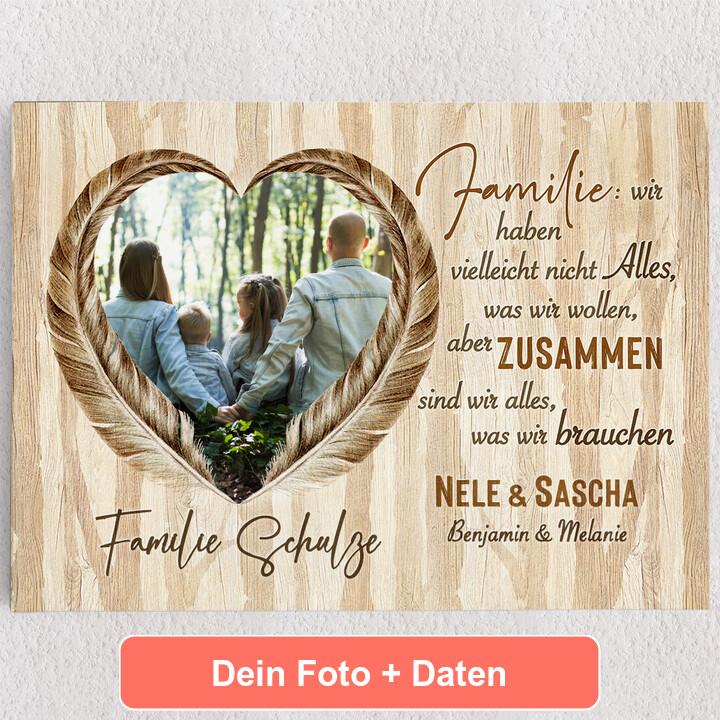 Personalisiertes Leinwandbild Federn der Liebe
