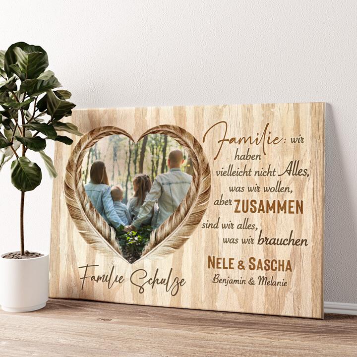 Federn der Liebe Wandbild personalisiert