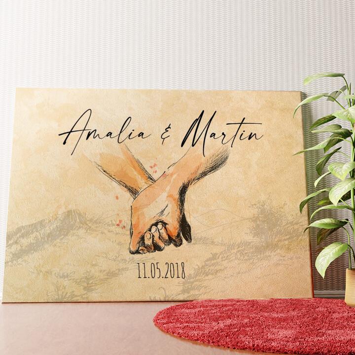 Personalisiertes Wandbild Hand in Hand