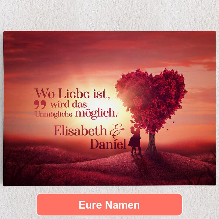 Personalisiertes Leinwandbild Love Tree
