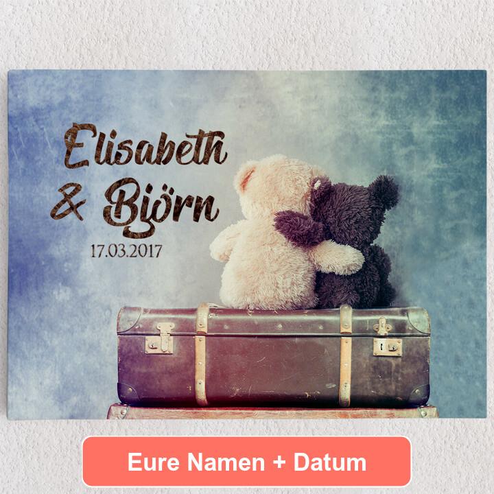 Personalisiertes Leinwandbild Teddybears