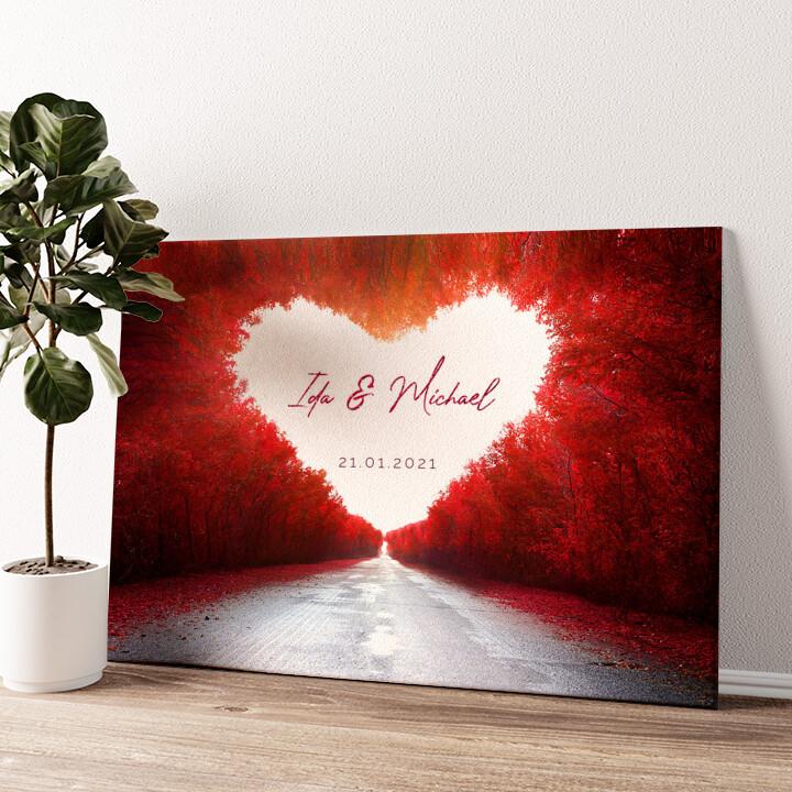 Love Road Wandbild personalisiert