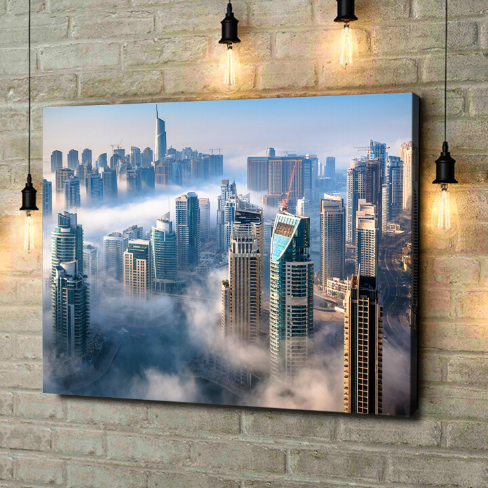 Leinwandbild personalisiert Dubai Skyline Nebel