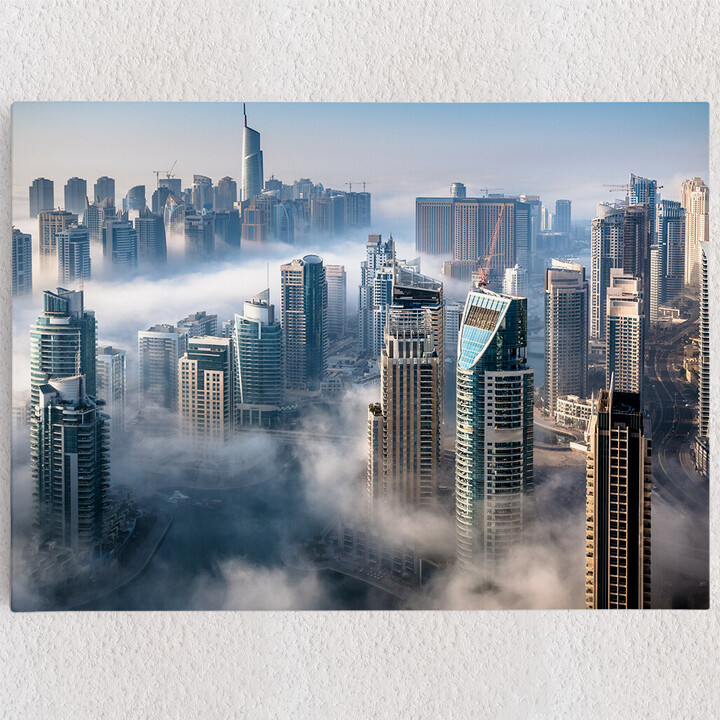 Personalisiertes Leinwandbild Dubai Skyline Nebel