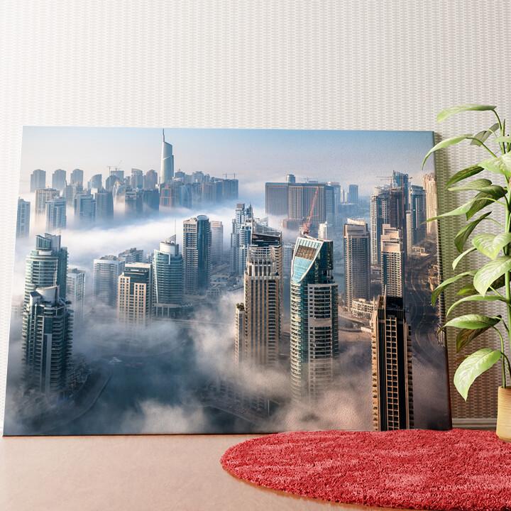 Personalisiertes Wandbild Dubai Skyline Nebel