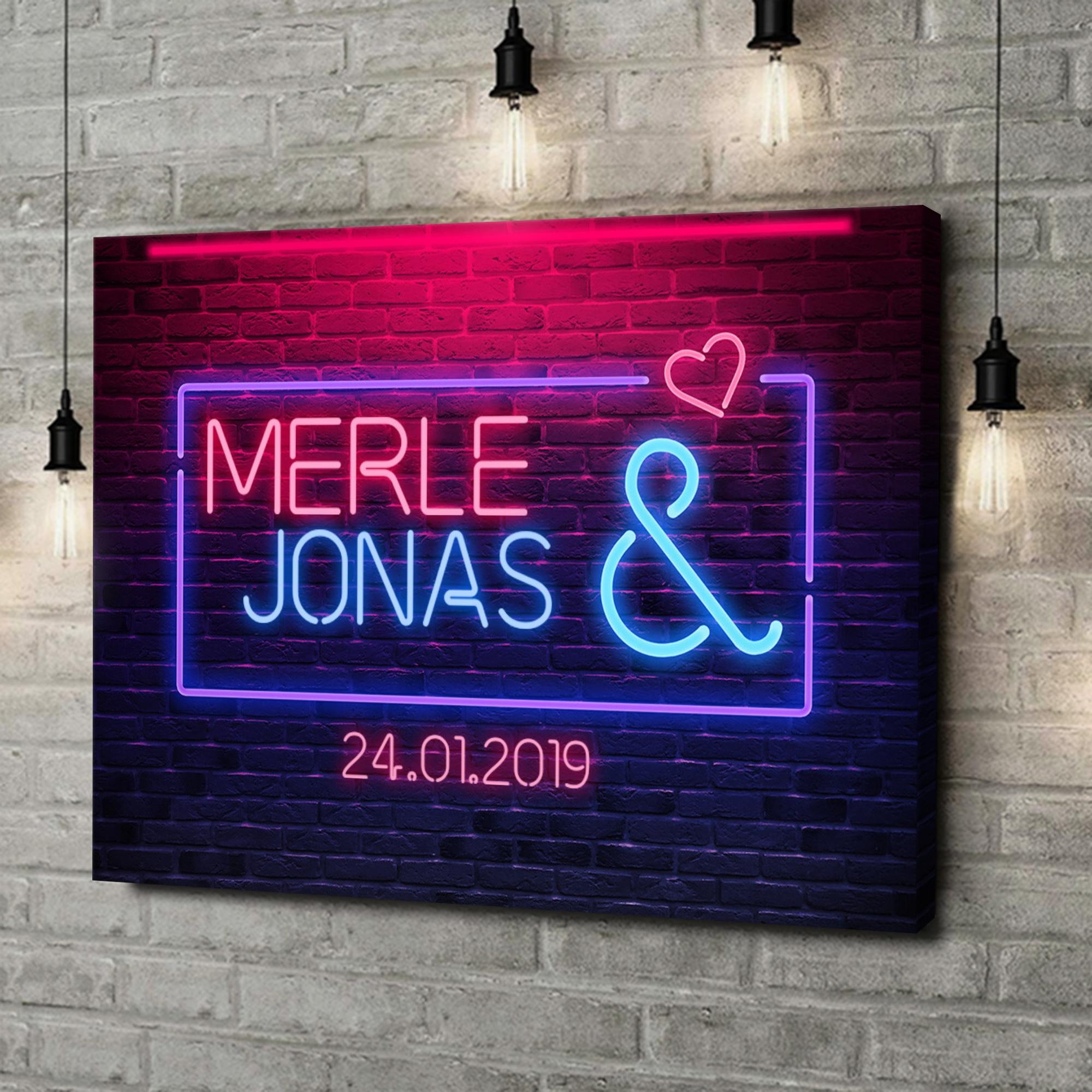 Leinwandbild personalisiert Neon Love