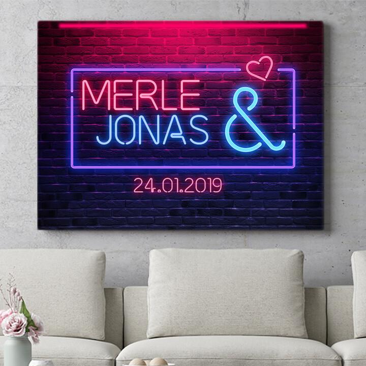 Personalisierbares Geschenk Neon Love