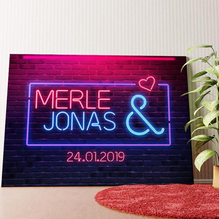 Personalisiertes Wandbild Neon Love