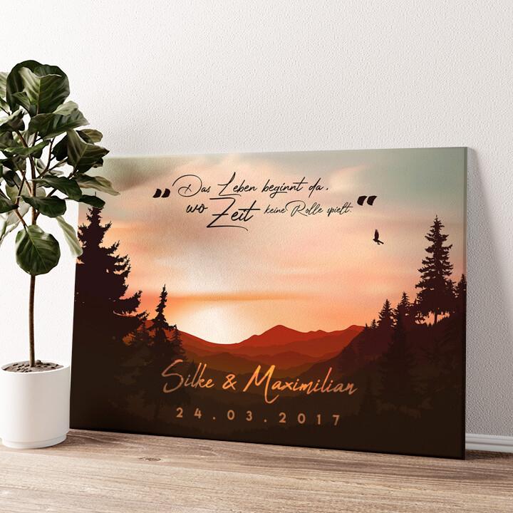 Sunset Wandbild personalisiert