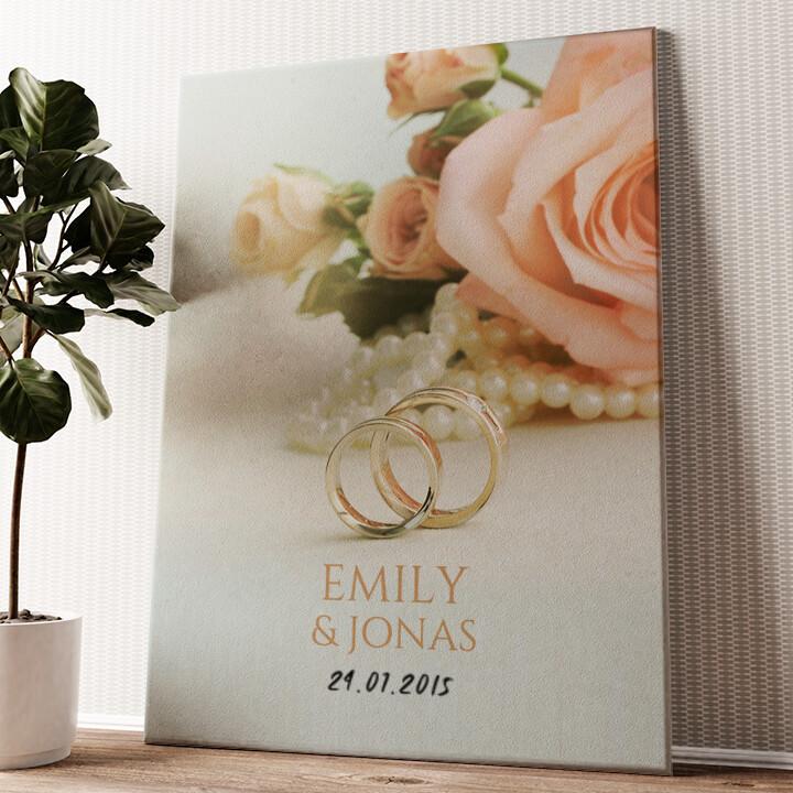 2 Rings 1 Love Wandbild personalisiert