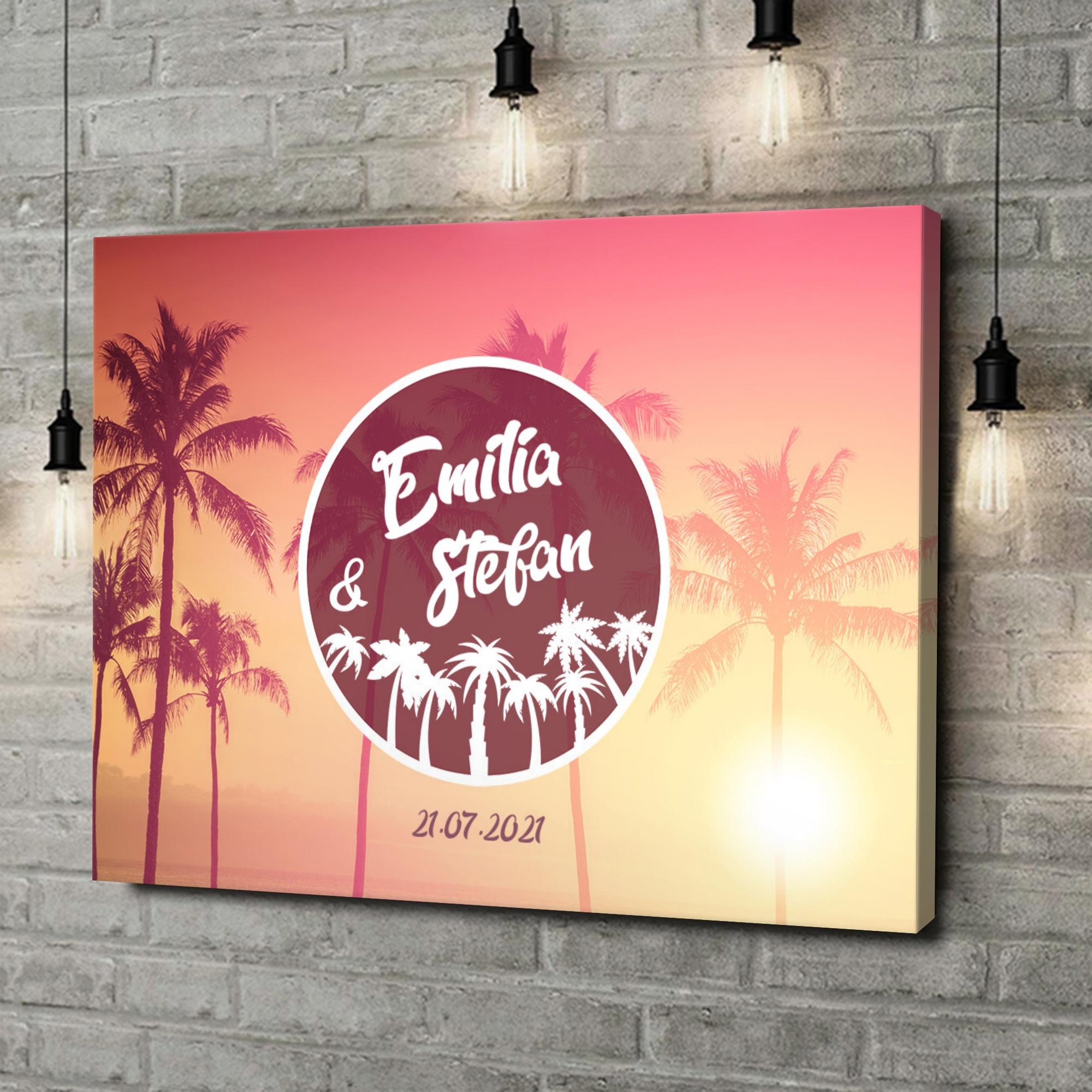 Leinwandbild personalisiert Love Below Palms