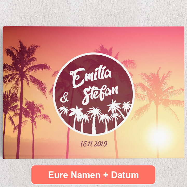 Personalisiertes Leinwandbild Love Below Palms