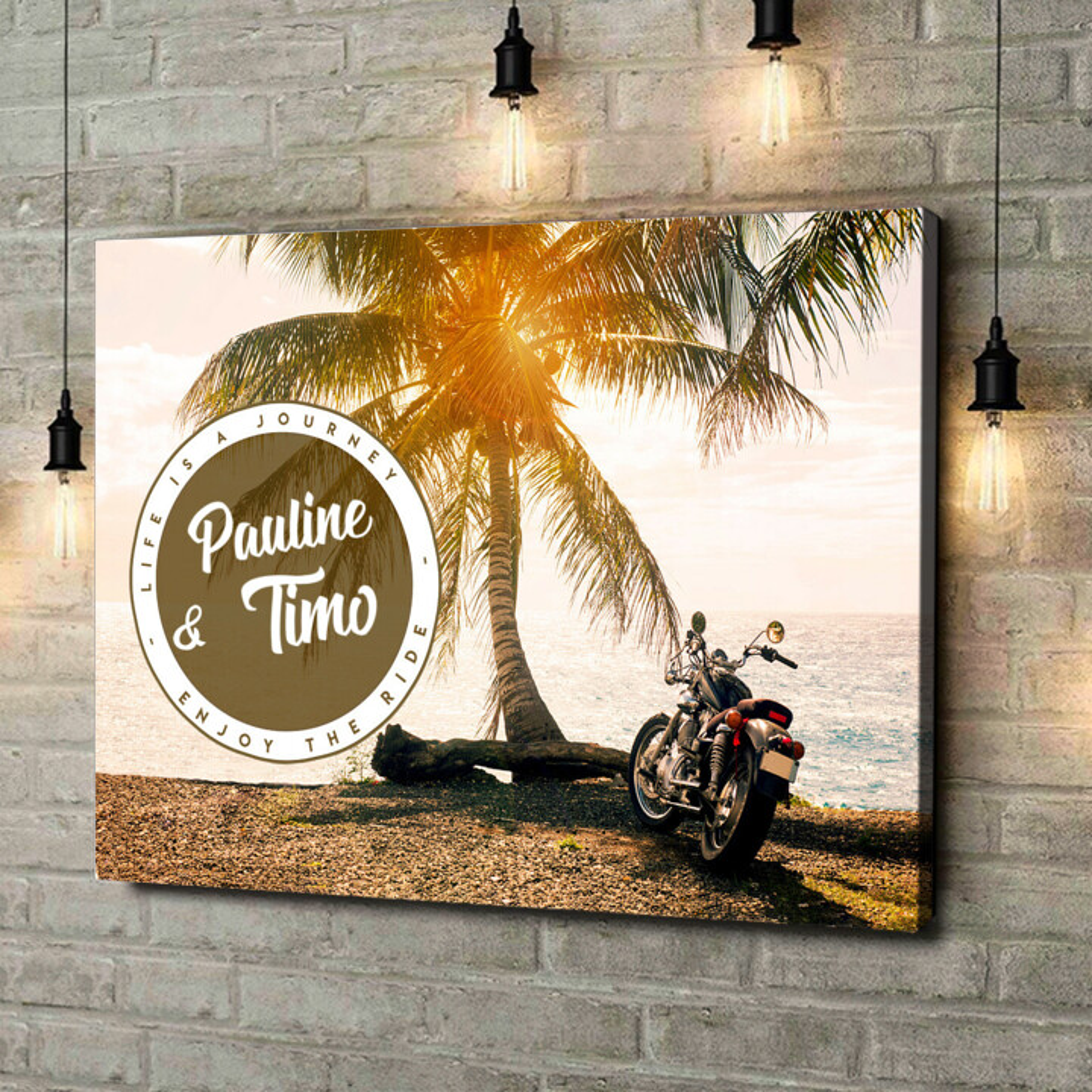 Leinwandbild personalisiert Biker Love