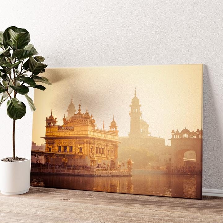 Sikh Gurdwara Goldener Tempel Punjab Indien Wandbild personalisiert