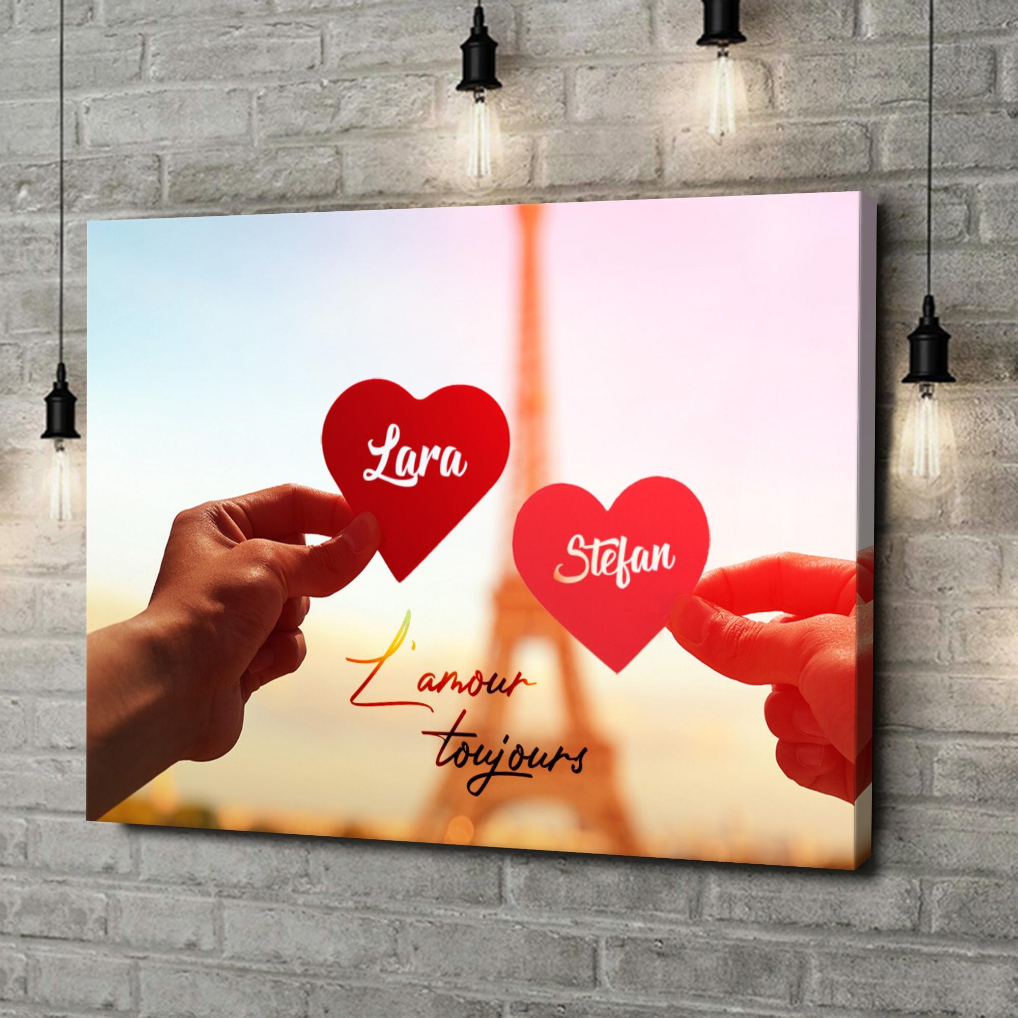 Leinwandbild personalisiert L'amour Toujours