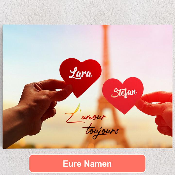 Personalisiertes Leinwandbild L'amour Toujours