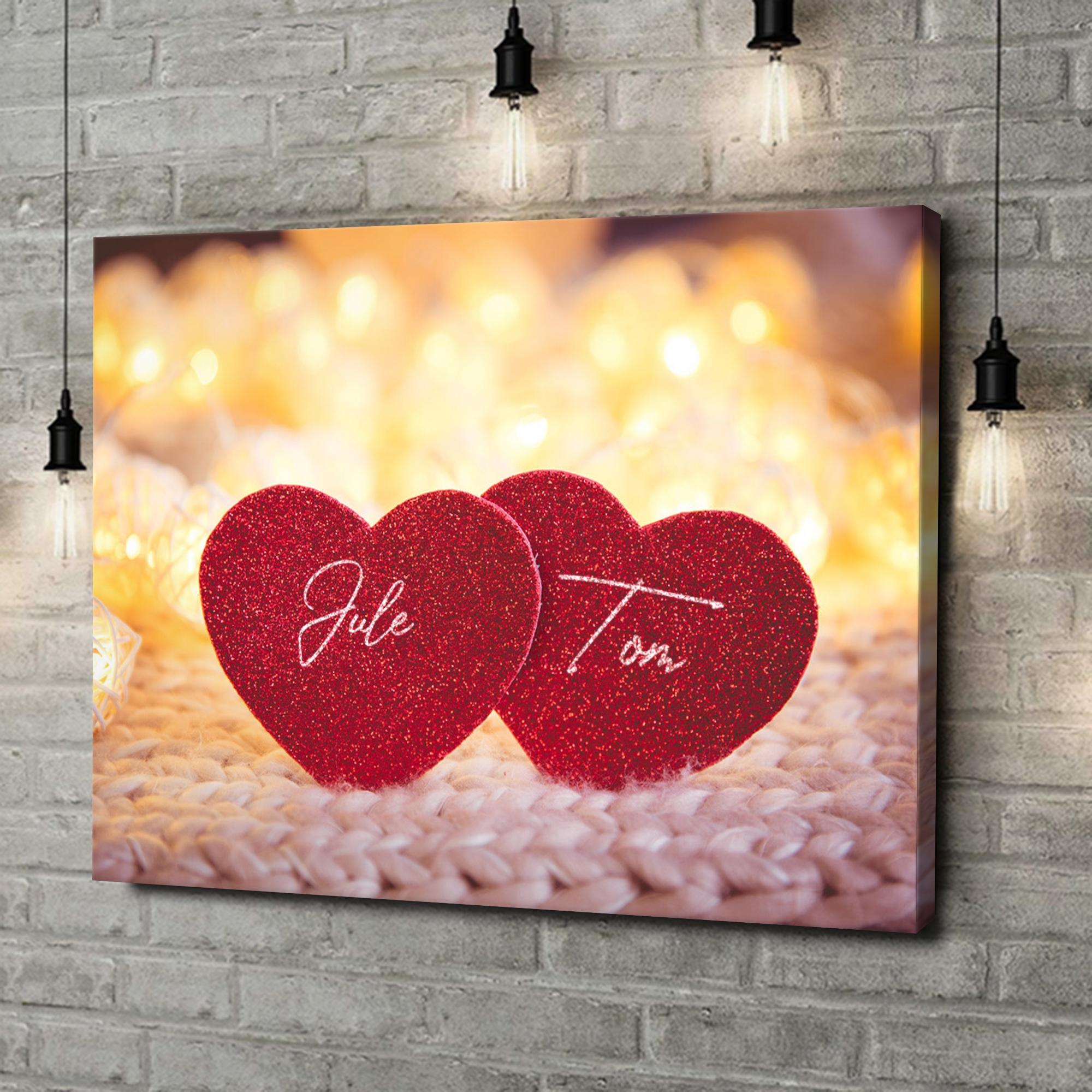 Leinwandbild personalisiert Couple Hearts