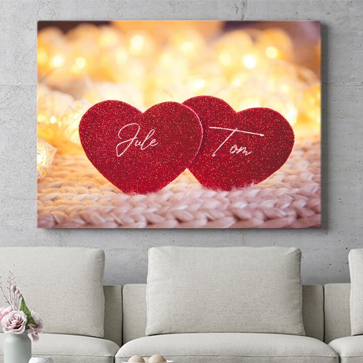 Personalisierbares Geschenk Couple Hearts