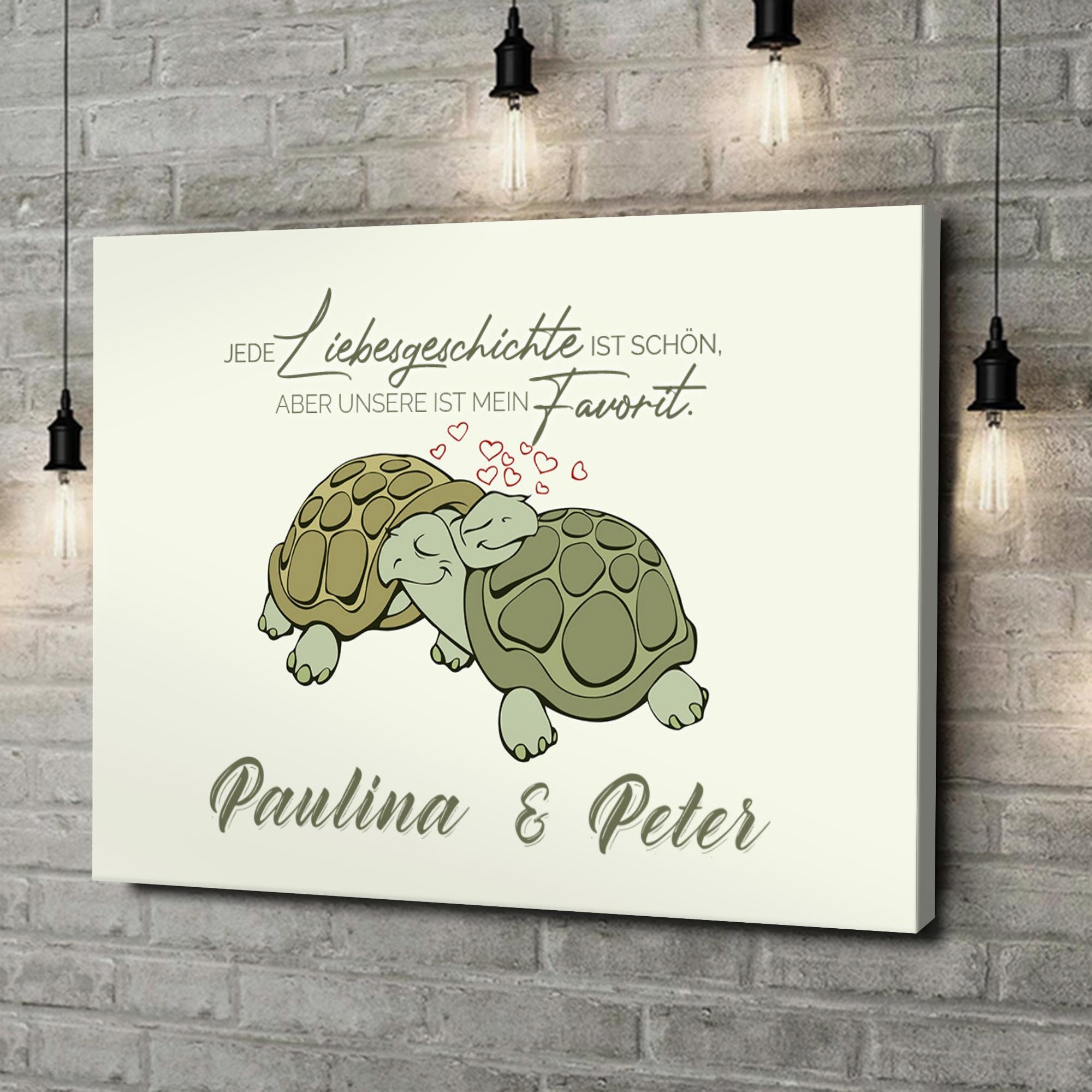 Leinwandbild personalisiert Turtle Love