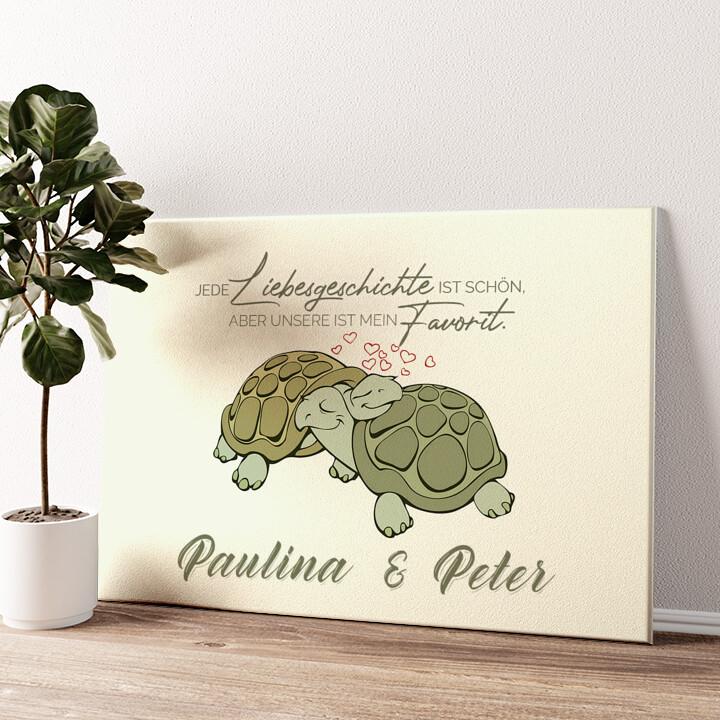 Turtle Love Wandbild personalisiert