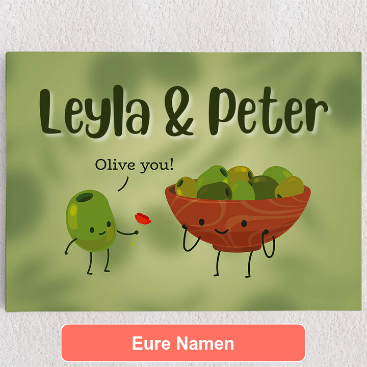 Personalisiertes Leinwandbild Olive You