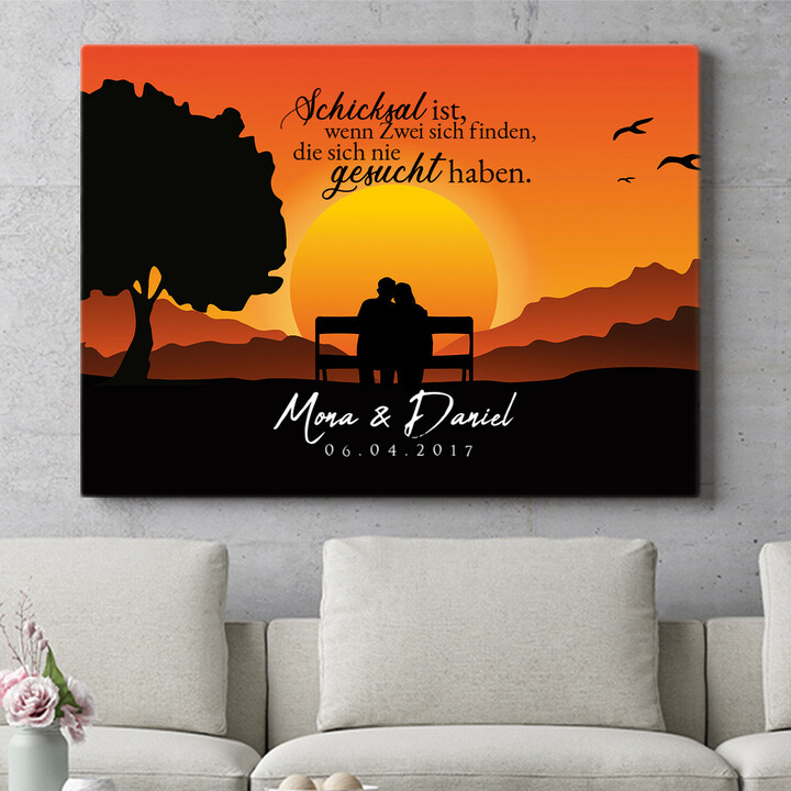 Personalisierbares Geschenk Sunset Bench