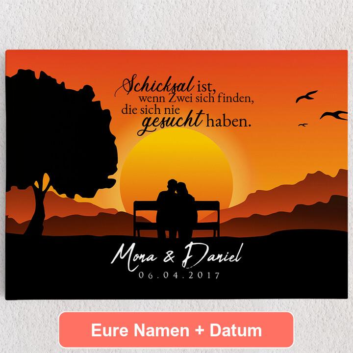Personalisiertes Leinwandbild Sunset Bench