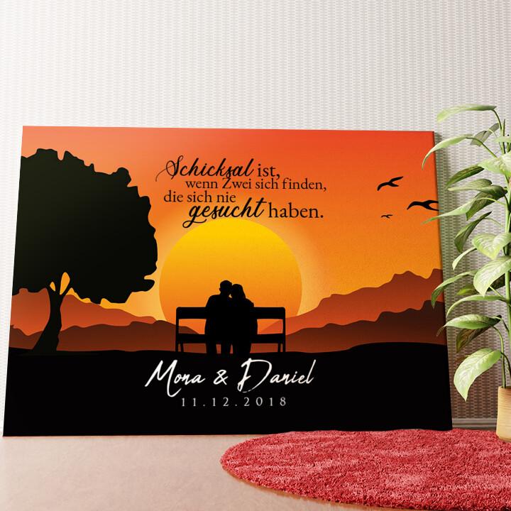 Personalisiertes Wandbild Sunset Bench
