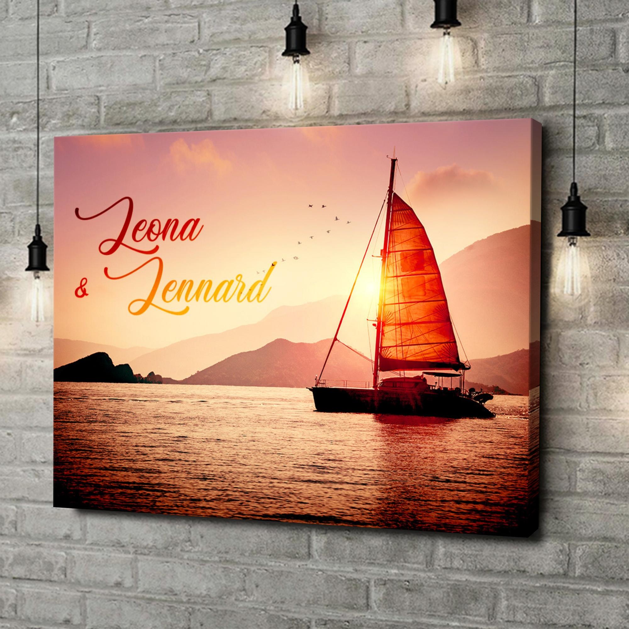 Leinwandbild personalisiert Sailing Love