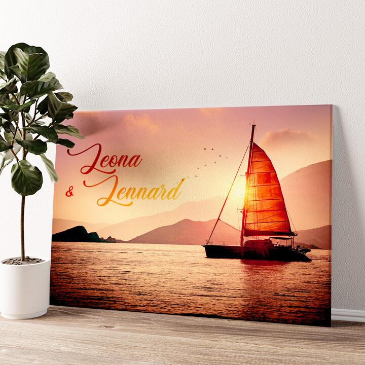 Sailing Love Wandbild personalisiert