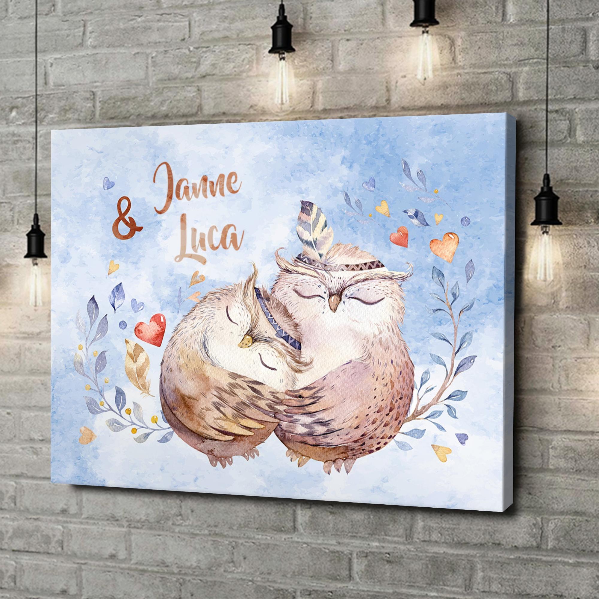 Leinwandbild personalisiert Cuddle Owls