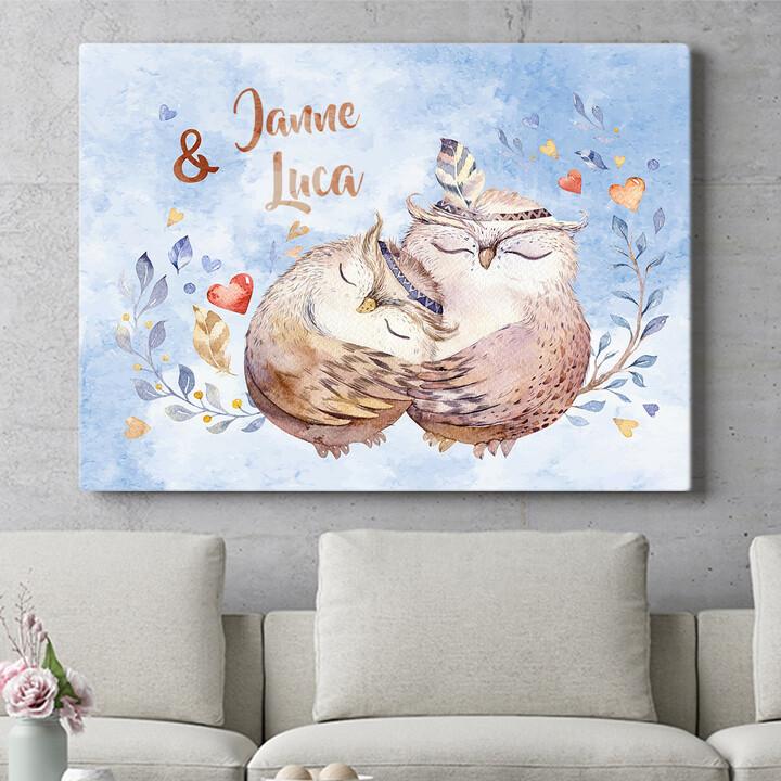 Personalisierbares Geschenk Cuddle Owls