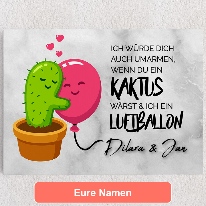 Personalisiertes Leinwandbild Cactus Balloons