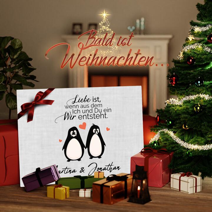 Liebesleinwand zu Weichnachten Twosome Penguins