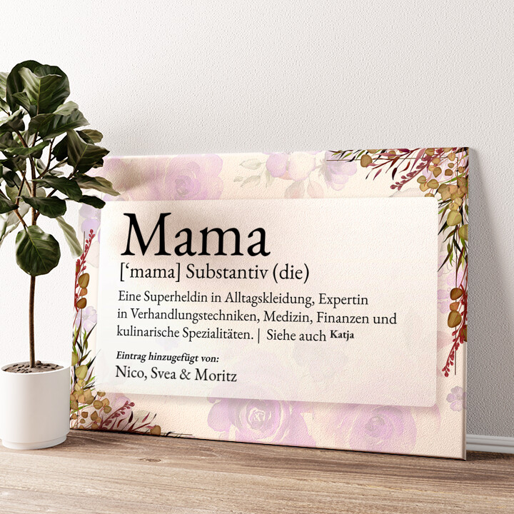 Mama Definition Wandbild personalisiert