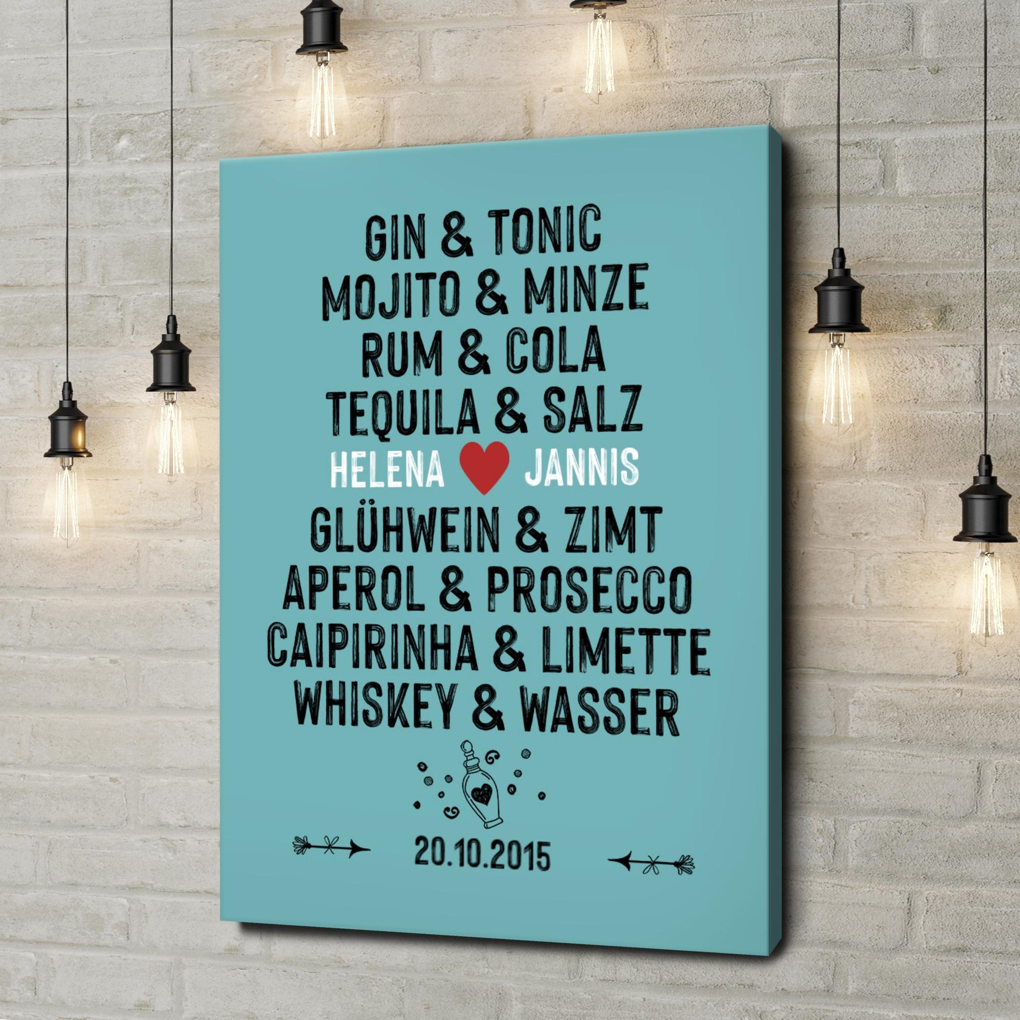 Leinwandbild personalisiert Du & Ich - Drinks