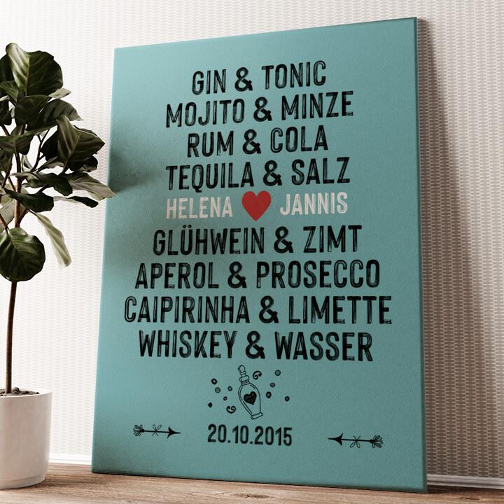 Du & Ich - Drinks Wandbild personalisiert