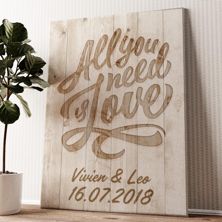 All You Need Is Love Wandbild personalisiert