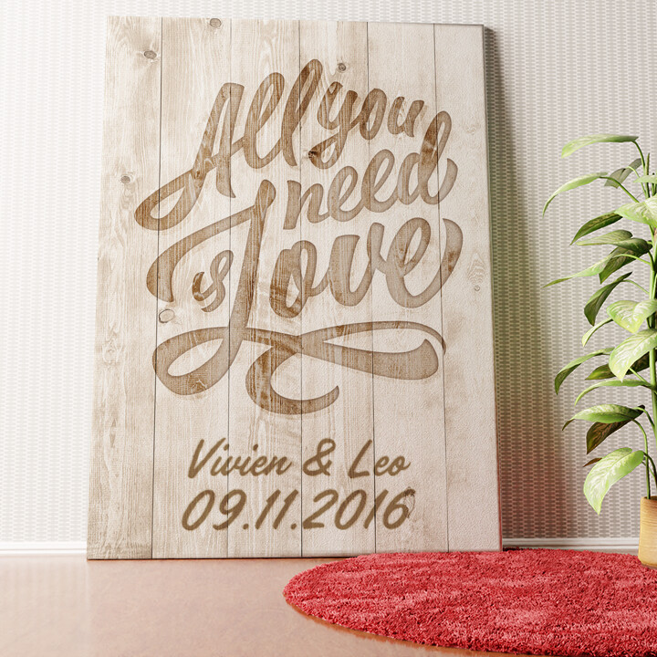 Personalisiertes Wandbild All You Need Is Love