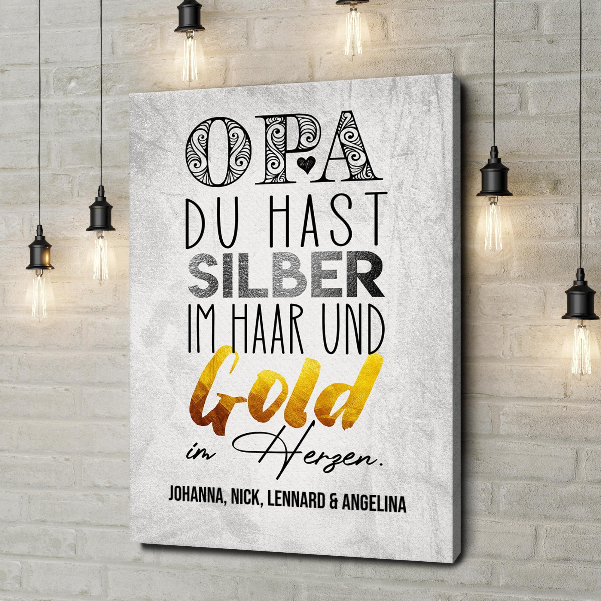 Leinwandbild personalisiert Gold im Herzen für Opa