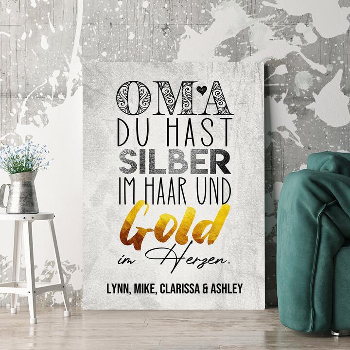 Personalisierbares Geschenk Gold im Herzen für Oma