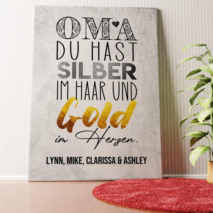 Personalisiertes Wandbild Gold im Herzen für Oma